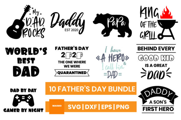 Download Free 10 Svg Bundle For Fathers Day Graphic By Maumo Designs for Cricut Explore, Silhouette and other cutting machines.