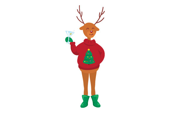 Download Free Reindeer With Martini Svg Cut File By Creative Fabrica Crafts for Cricut Explore, Silhouette and other cutting machines.