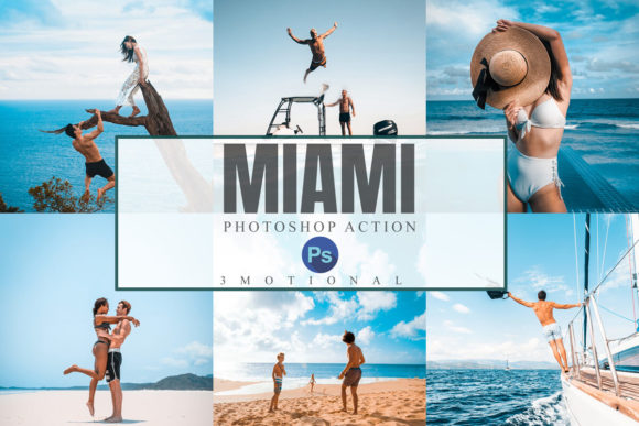 Download Free 18 Miami Photoshop Actions Graphic By 3motional Creative Fabrica for Cricut Explore, Silhouette and other cutting machines.