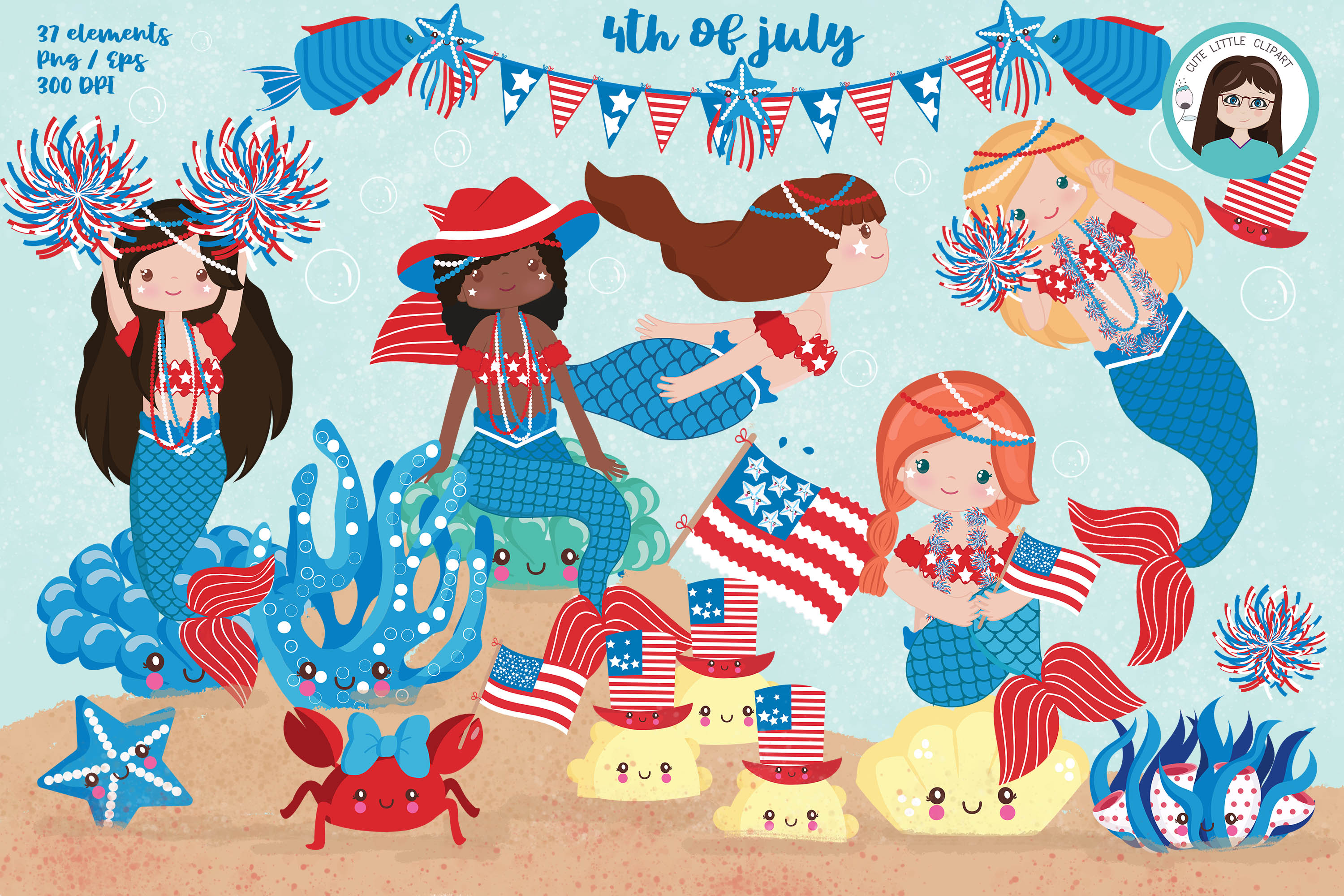 Download Free 4th Of July Mermaids Graphic By Cutelittleclipart Creative Fabrica for Cricut Explore, Silhouette and other cutting machines.