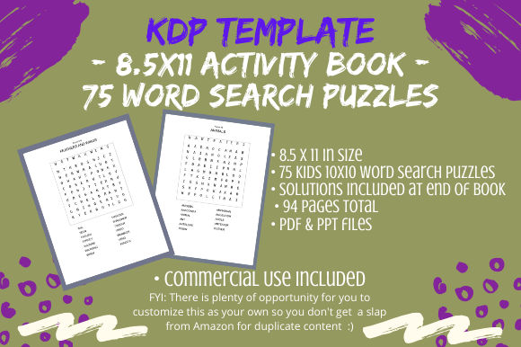 75 Kids Word Search Puzzles 10x10 Graphic By Tomboy Designs
