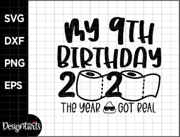 Download Free My 9th Birthday Graphic By Spoonyprint Creative Fabrica for Cricut Explore, Silhouette and other cutting machines.