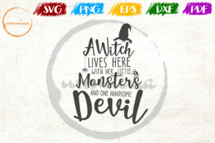 Download Free A Witch Lives Here With Her Little Graphic By Uramina Creative for Cricut Explore, Silhouette and other cutting machines.