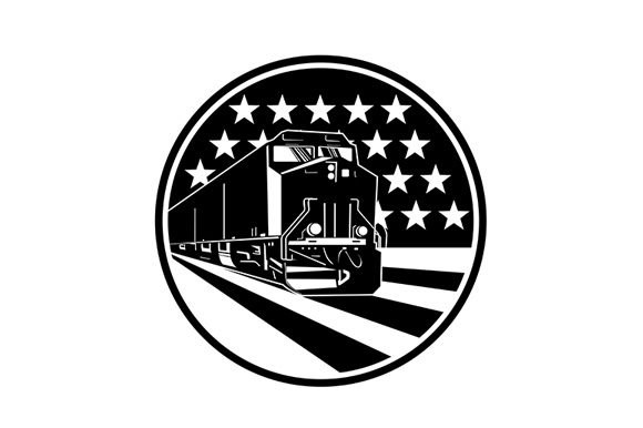 Download Free American Diesel Locomotive Train Graphic By Patrimonio for Cricut Explore, Silhouette and other cutting machines.