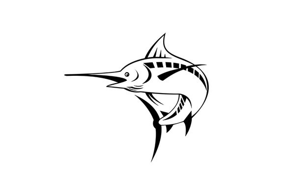 Download Free Atlantic Blue Marlin Swimming Up Graphic By Patrimonio for Cricut Explore, Silhouette and other cutting machines.