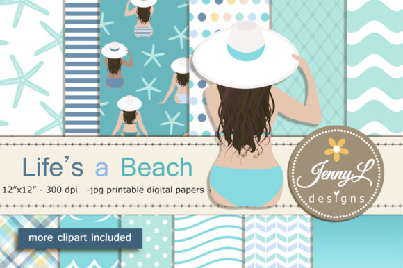 Beach Summer Digital Papers and Clipart Gráfico Moldes Por jennyL_designs