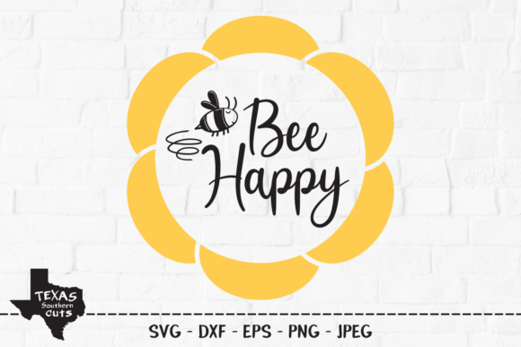 Print on Demand: Bee Happy - Shirt Design Graphic Crafts By texassoutherncuts