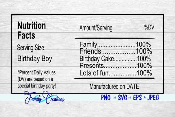 Birthday Boy Nutrition Label Graphic Crafts By Family Creations