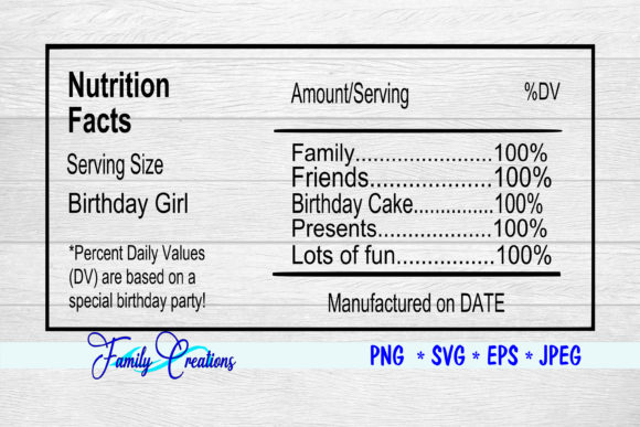 Download Free Birthday Girl Nutrition Label Graphic By Family Creations for Cricut Explore, Silhouette and other cutting machines.