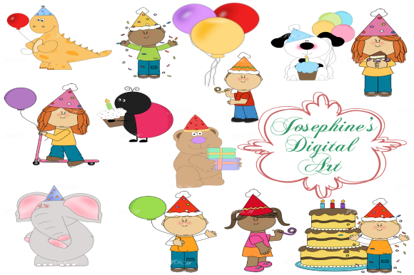Print on Demand: Birthday Party Clipart - Balloons - Cake Graphic Illustrations By Josephine's Digital Art