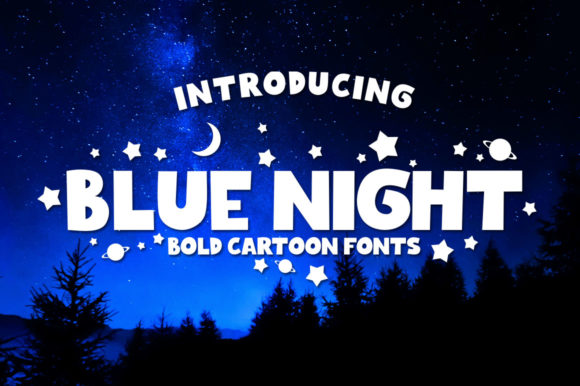 Download Free Blue Night Font By Azkaryzki Creative Fabrica for Cricut Explore, Silhouette and other cutting machines.