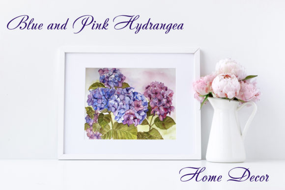 Download Free Blue And Pink Hydrangea Watercolor Paint Graphic By for Cricut Explore, Silhouette and other cutting machines.