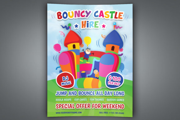 Download Free Bouncy Castle Hire Flyer Template Graphic By Owpictures for Cricut Explore, Silhouette and other cutting machines.