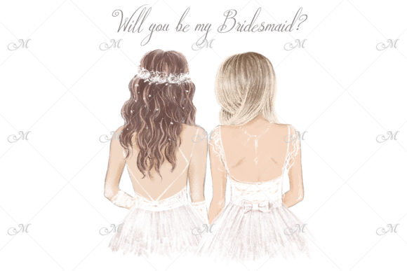 Bride & Bridesmaid in White - Hand Drawn Graphic Illustrations By MaddyZ