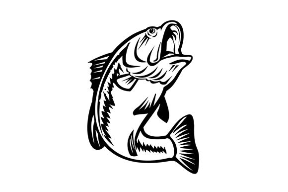 Download Free Bucketmouth Bass Swimming Down Graphic By Patrimonio Creative for Cricut Explore, Silhouette and other cutting machines.