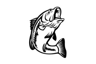 Print on Demand: Bucketmouth Bass Swimming Down Graphic Illustrations By patrimonio