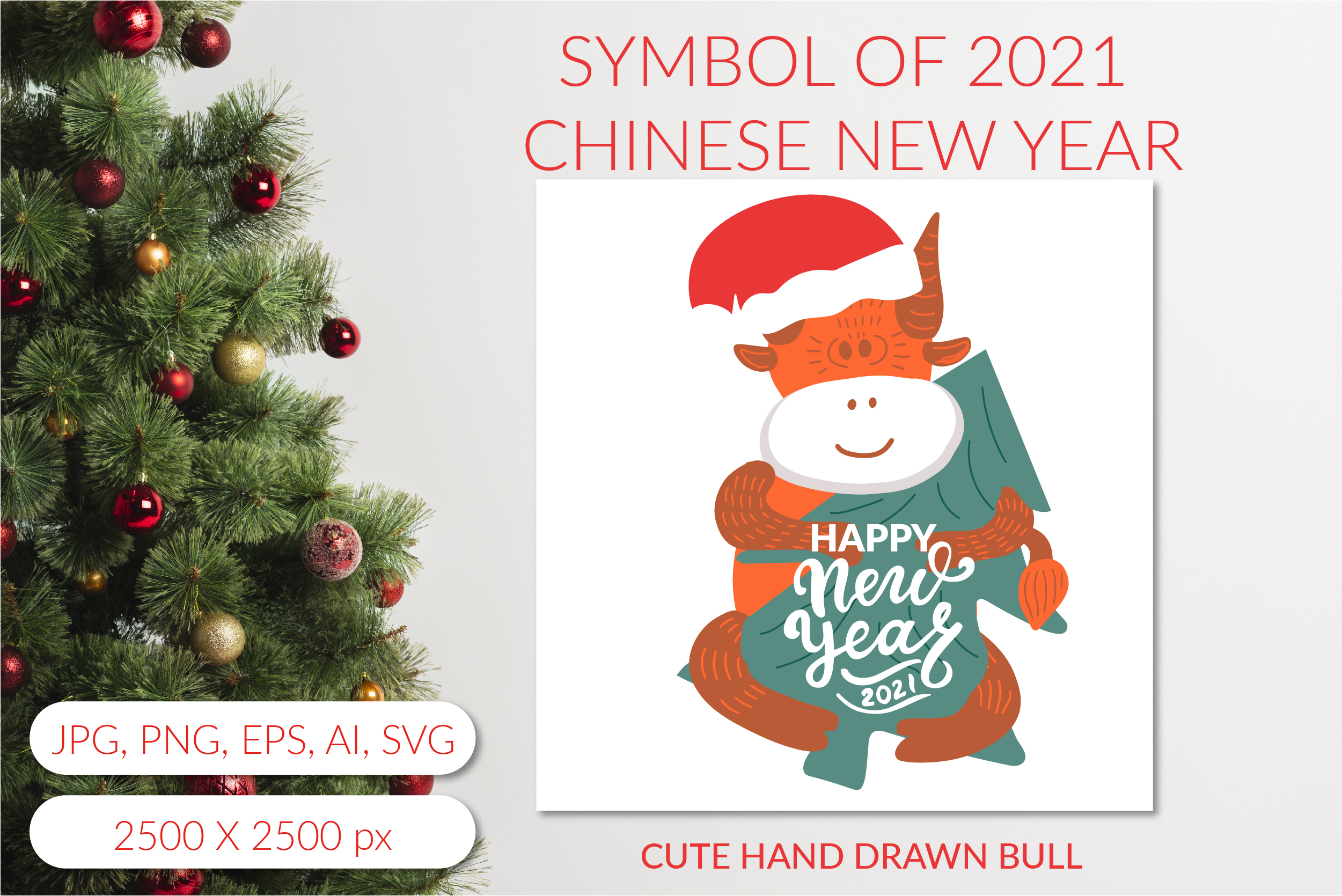 Download Free Bull 2021 Symbol Of Chinese New Year Graphic By for Cricut Explore, Silhouette and other cutting machines.