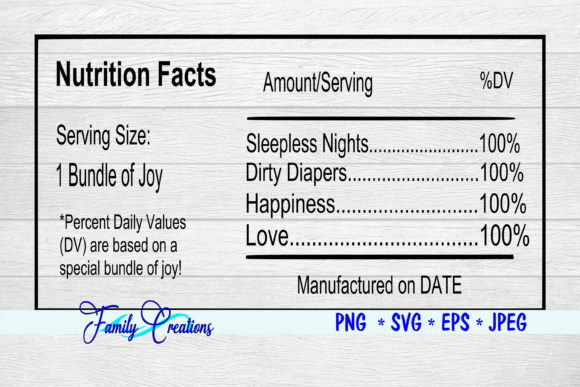 Bundle of Joy Nutrition Label Graphic Crafts By Family Creations