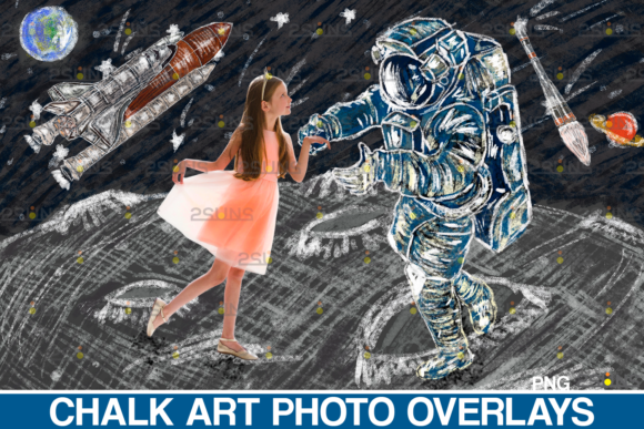 Chalk Art Overlay: Space Explorer Graphic Illustrations By 2SUNS
