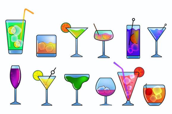Download Free Collection Of Popular Cute Cocktails Set Graphic By Iop Micro for Cricut Explore, Silhouette and other cutting machines.
