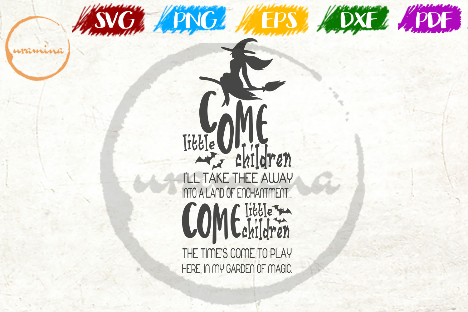 Download Free Come Little Children I Ll Take Thee Away Graphic By Uramina for Cricut Explore, Silhouette and other cutting machines.