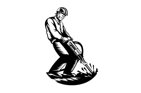 Download Free Construction Worker With Jackhammer Graphic By Patrimonio for Cricut Explore, Silhouette and other cutting machines.