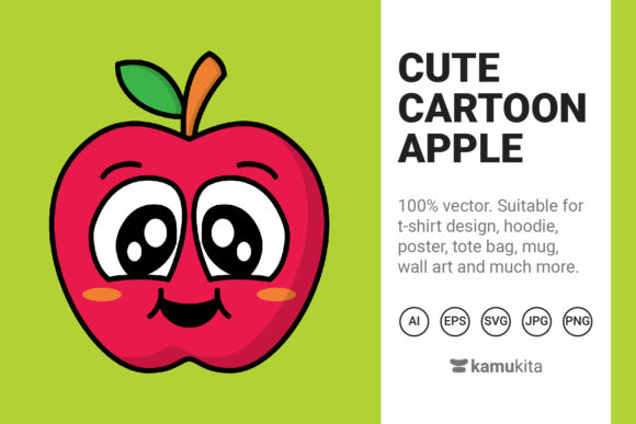 Download Free Cute Cartoon Apple Graphic By Kamukita Creative Fabrica for Cricut Explore, Silhouette and other cutting machines.
