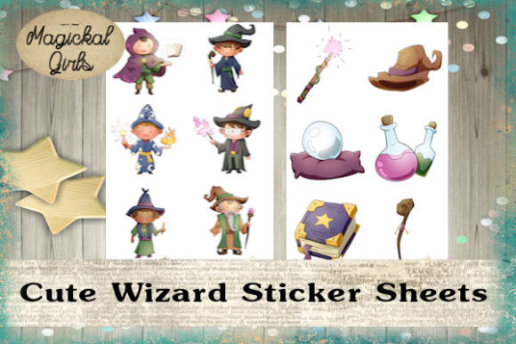 Download Free Cute Wizard Sticker Sheet Set Graphic By Magickal Girls for Cricut Explore, Silhouette and other cutting machines.