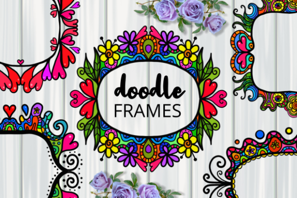 Print on Demand: Decorative Folk Art Doodle Border Frames Graphic Backgrounds By Prawny