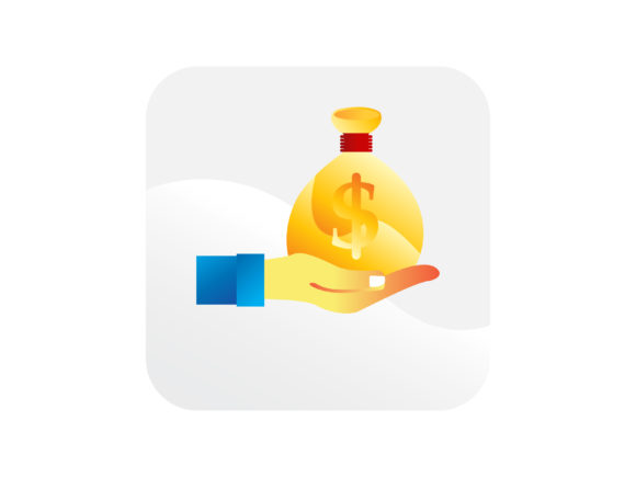 Download Free Dollars Money Bag On A Hand Icon Graphic By Samagata Creative for Cricut Explore, Silhouette and other cutting machines.