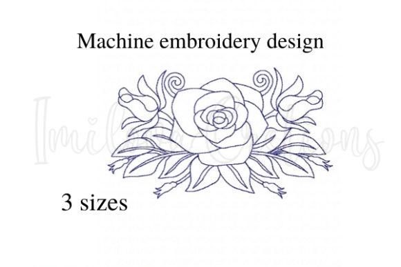 Elegant Rose Single Flowers & Plants Embroidery Design By ImilovaCreations