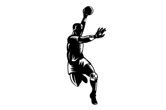 Download Free European Handball Player Jumping Graphic By Patrimonio for Cricut Explore, Silhouette and other cutting machines.