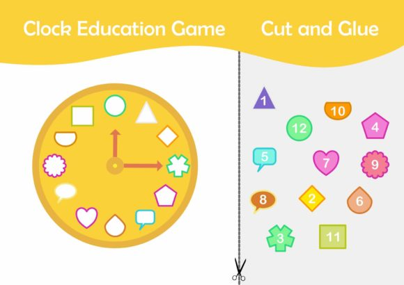 Game : Clock Education Game (Cut & Glue) Graphic Education By Hari Pasar