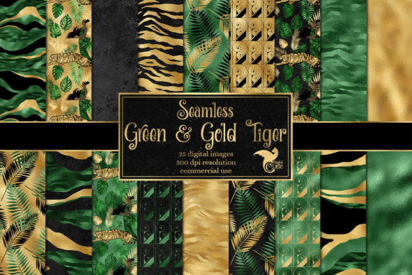 Print on Demand: Green and Gold Tiger Digital Paper Graphic Textures By Digital Curio