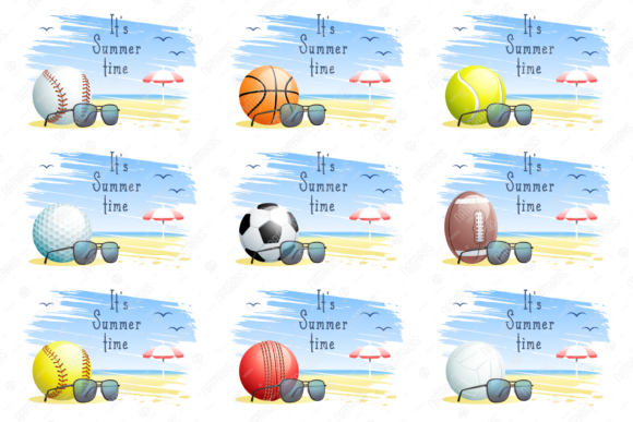 It's Summer Time. 9 Sports Cards. Graphic Illustrations By Natariis Studio