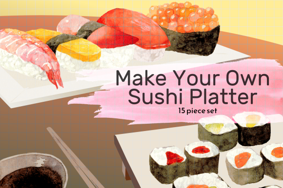 Download Free Japanese Sushi Platter Clipart Set Graphic By Roselocket for Cricut Explore, Silhouette and other cutting machines.