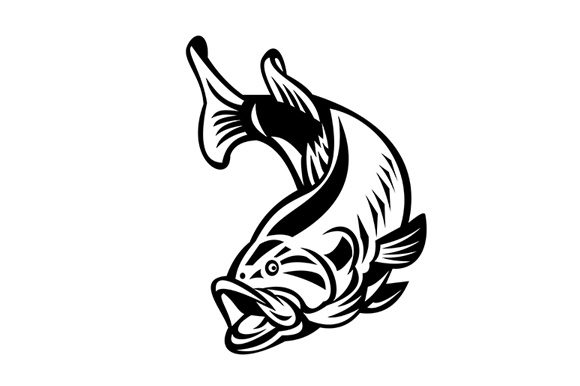 Download Free Largemouth Bass Swimming Down Graphic By Patrimonio Creative for Cricut Explore, Silhouette and other cutting machines.