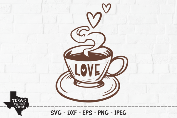 Download Free Love Coffee Design Graphic By Texassoutherncuts Creative Fabrica for Cricut Explore, Silhouette and other cutting machines.