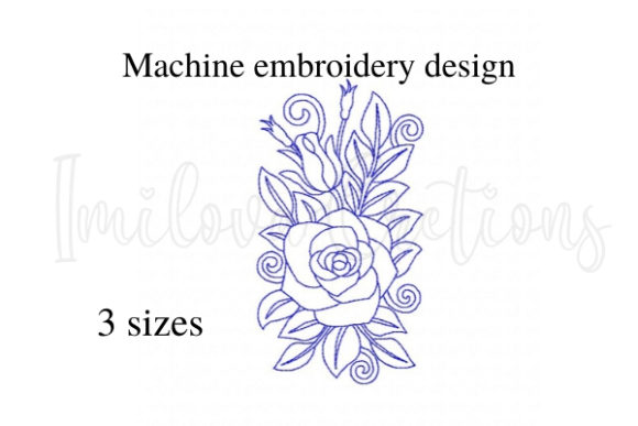 Lovely Rose Single Flowers & Plants Embroidery Design By ImilovaCreations