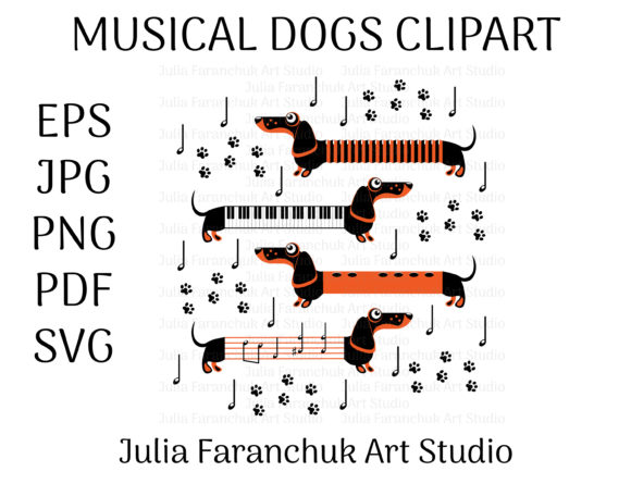 Download Free Musical Dogs Graphic By Yuliya Faranchuk Creative Fabrica for Cricut Explore, Silhouette and other cutting machines.