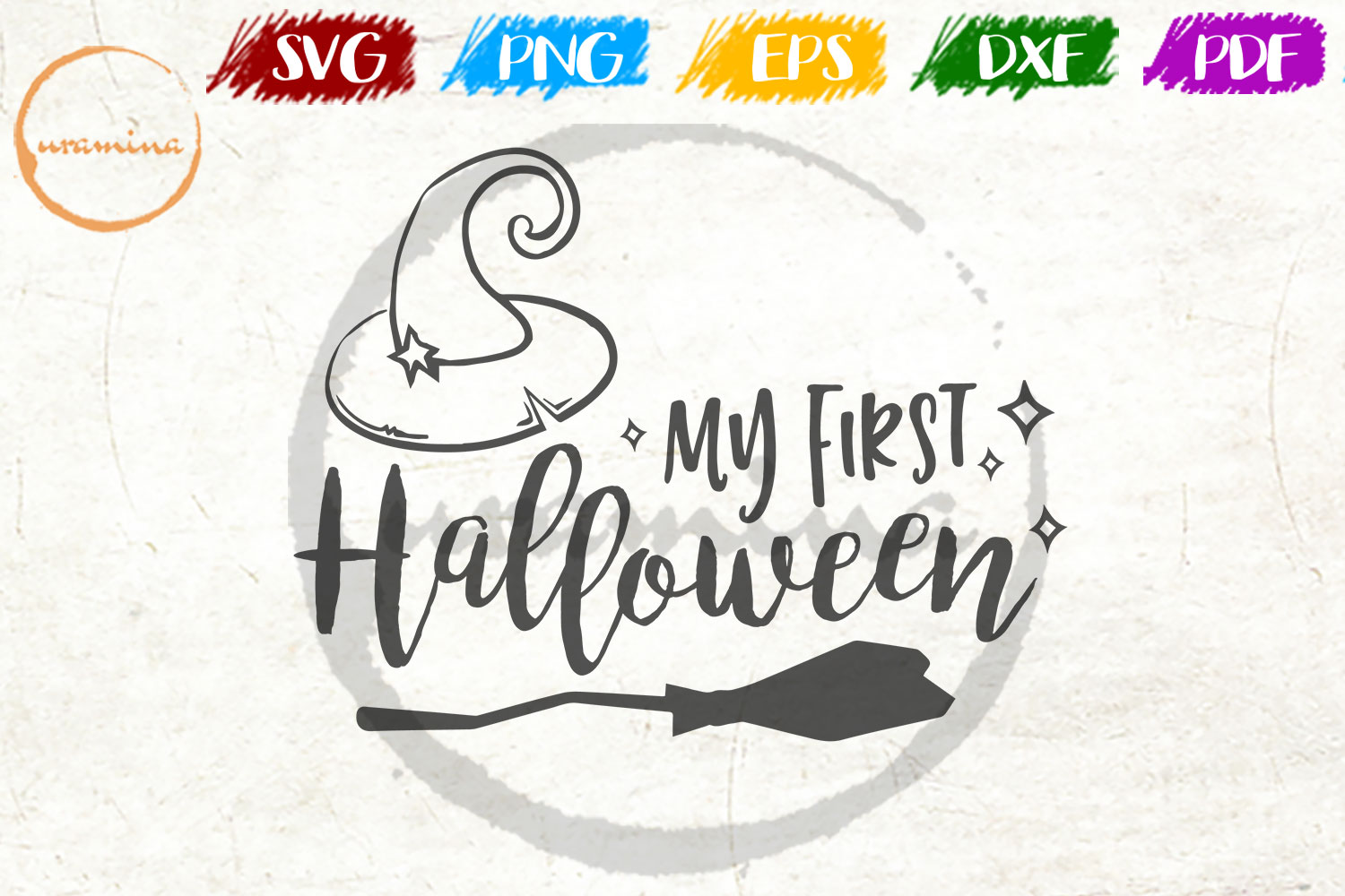 Download Free My First Halloween Graphic By Uramina Creative Fabrica for Cricut Explore, Silhouette and other cutting machines.