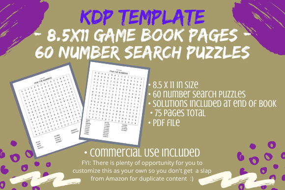 Download Free Number Search Puzzles Kdp Book Interior Graphic By Tomboy for Cricut Explore, Silhouette and other cutting machines.
