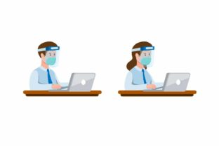 Print on Demand: Office Worker Wear Face Shield and Mask Graphic Illustrations By aryo.hadi