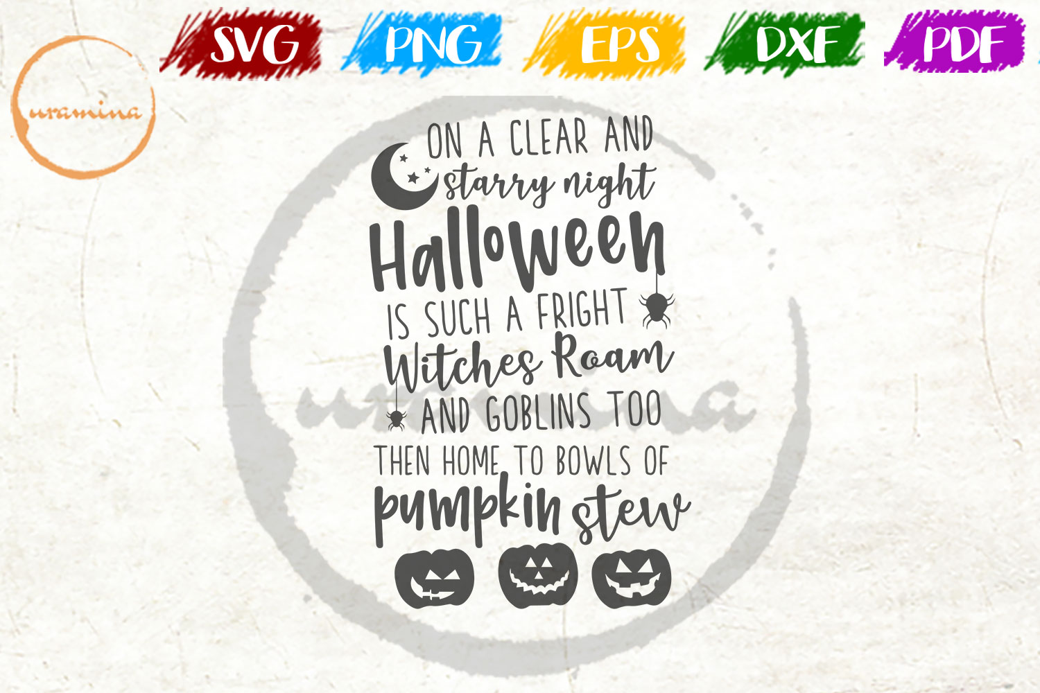 Download Free On A Clear And Starry Night Halloween Graphic By Uramina for Cricut Explore, Silhouette and other cutting machines.