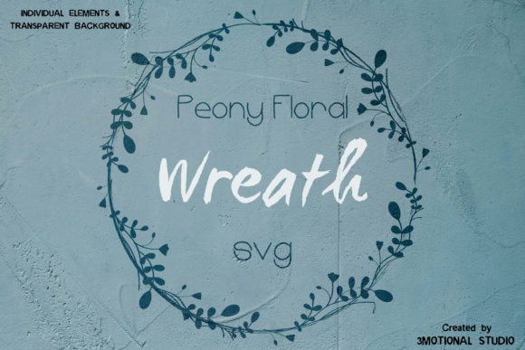 Download Free Peony Floral Wreath Graphic By 3motional Creative Fabrica for Cricut Explore, Silhouette and other cutting machines.