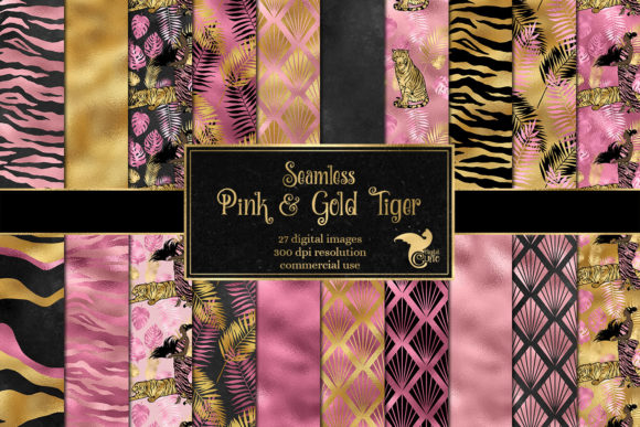 Print on Demand: Pink and Gold Tiger Digital Paper Graphic Backgrounds By Digital Curio