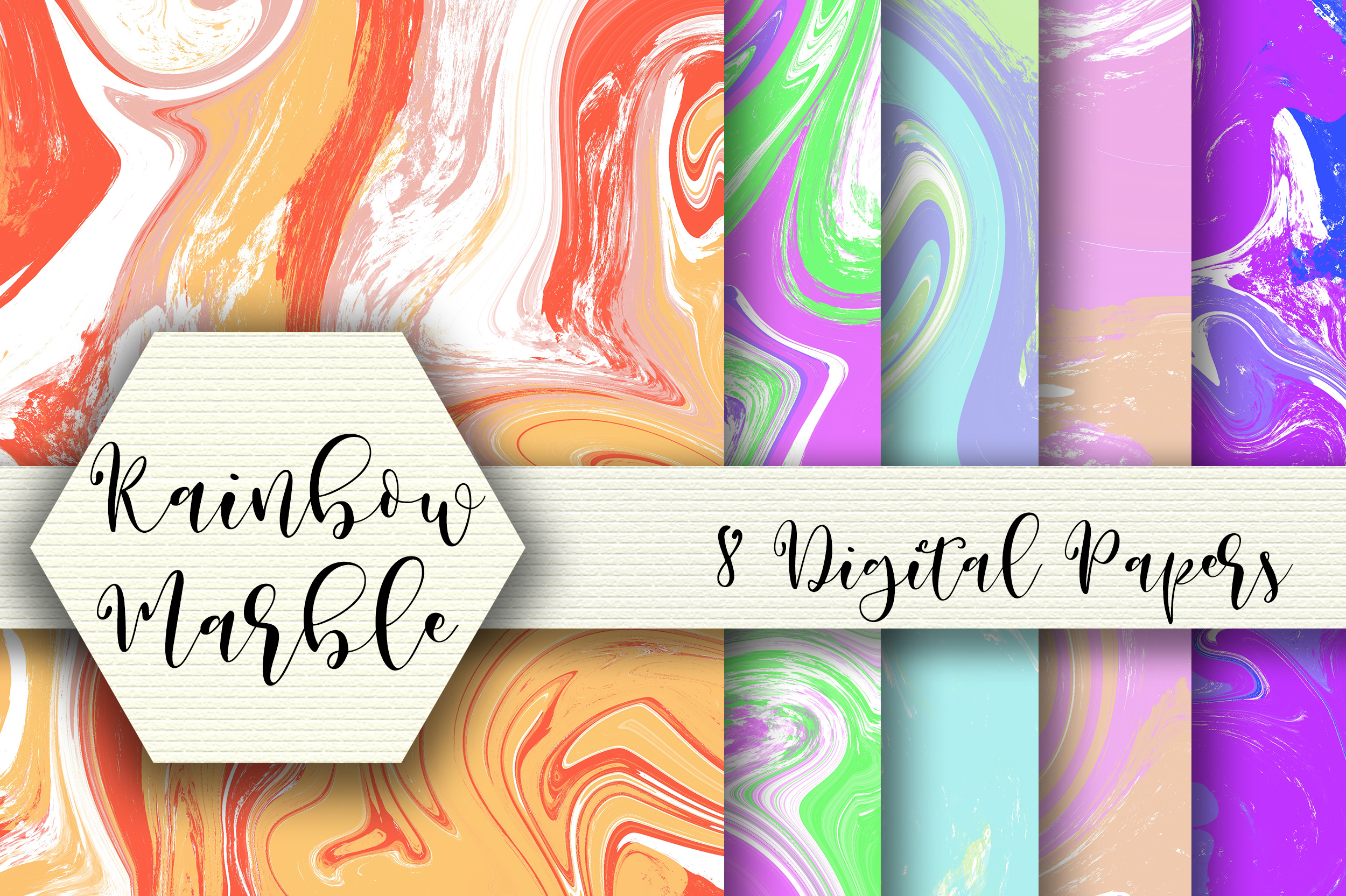 Download Free Rainbow Marble Digital Papers Graphic By Pearlydaisy Creative for Cricut Explore, Silhouette and other cutting machines.