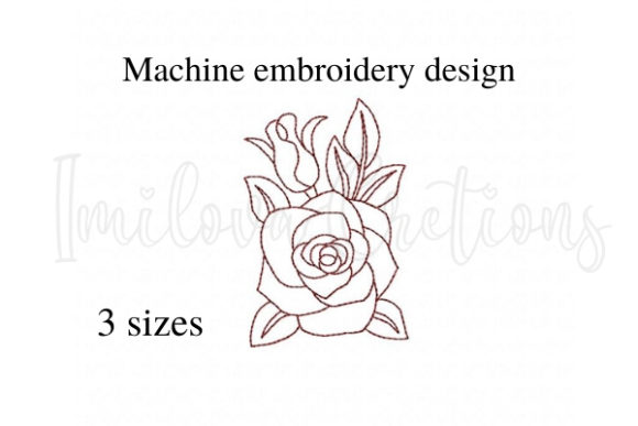 Rose Single Flowers & Plants Embroidery Design By ImilovaCreations