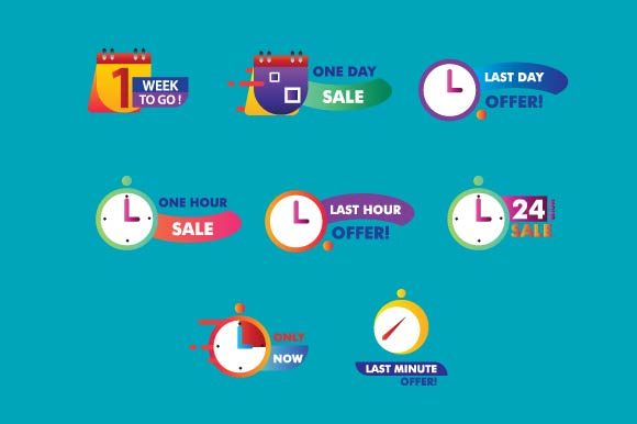Download Free Sale Countdown Badges Graphic By Wap Type Creative Fabrica for Cricut Explore, Silhouette and other cutting machines.