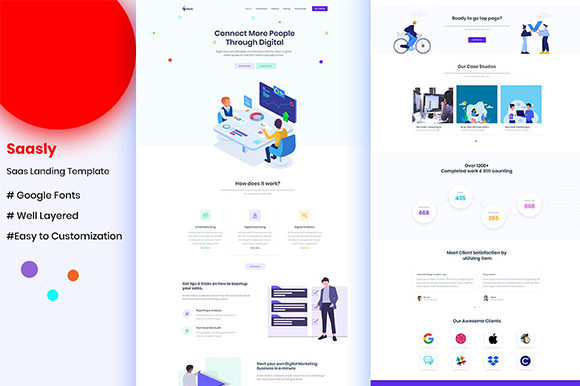 Sass Landing UI Kit for Website Graphic UX and UI Kits By artgalaxy